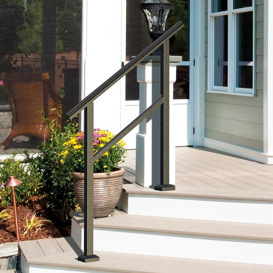 Freedom Heathrow Matte Black Aluminum Deck Handrail Kit In The   Lowes Outdoor Step Railings   Lowes Com   Balusters   Wrought Iron   Deck Railing   Handrail Kit