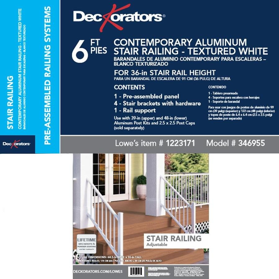 Deckorators Pre Assembled 6 Ft X 2 75 In X 36 In Textured White | Pre Assembled Stair Railing | Pressure Treated | Aluminum Stair | Deck Railing Systems | Cable Railing Kit | Deckorators