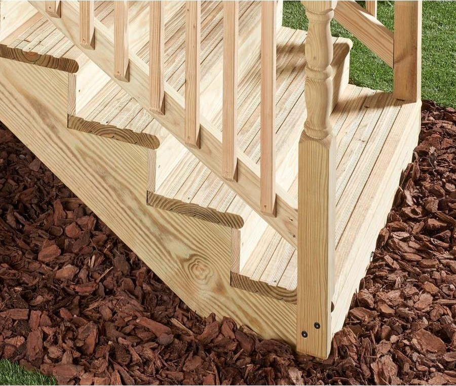 4 Step Pressure Treated Southern Yellow Pine Deck Stair Stringer   Pressure Treated Wood Stairs   L Shaped   Exterior   Timber   45 Degree Stringer   8 Foot