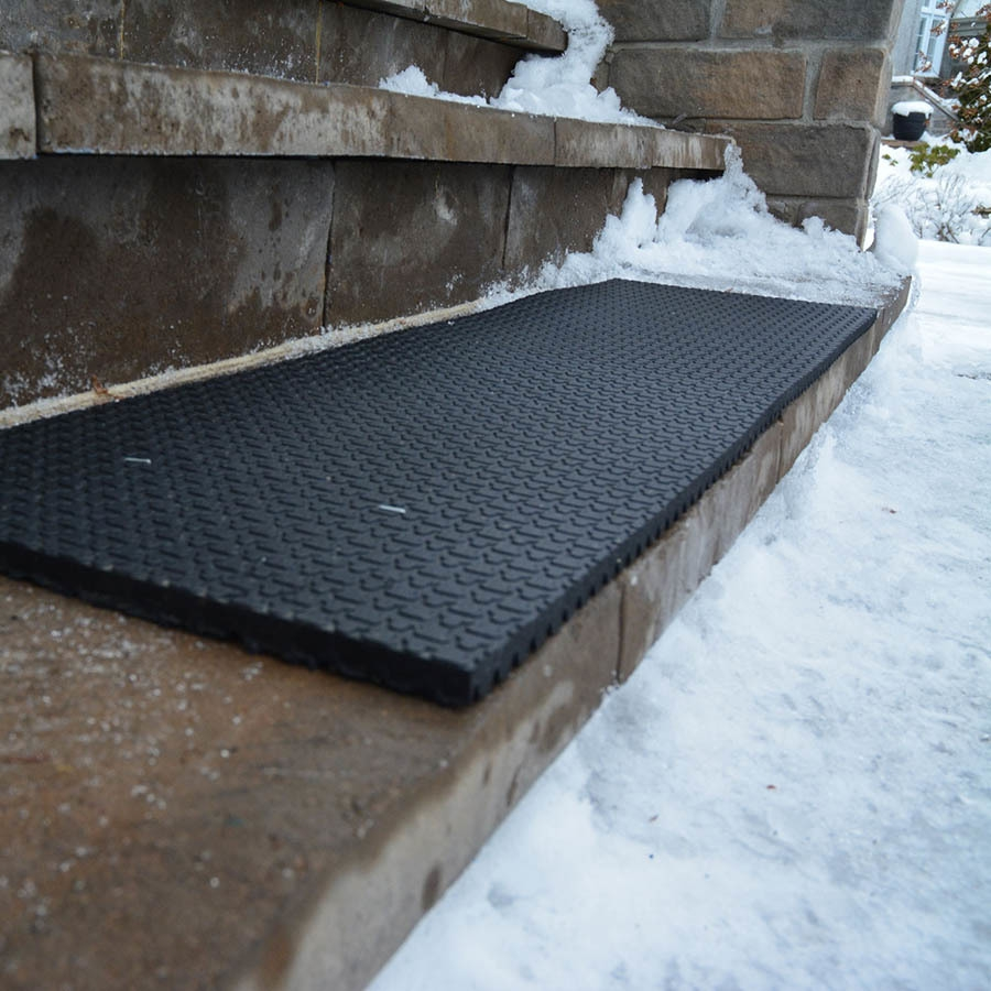 Secure Step Black Rectangular Outdoor Stair Tread Mat Actual 10   Outdoor Stair Treads For Ice And Snow   Heated   Mat   Cool Inventions   Non Slip Mats   Heattrak