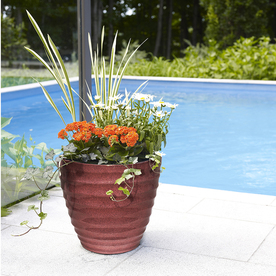 Shop Pots   Planters at Lowes com Display product reviews for 18 in W x 15 5 in H Red Resin Tapered