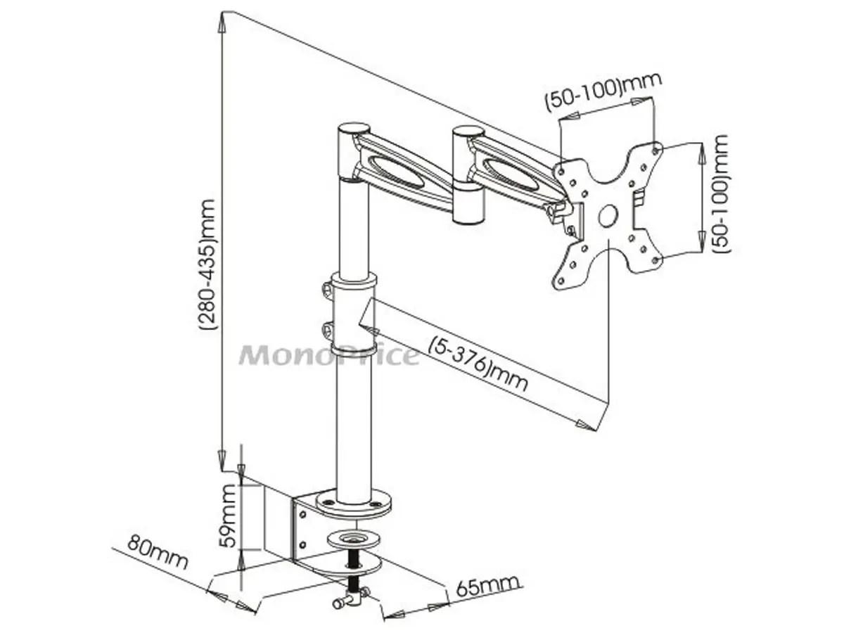 Monoprice 3 way adjustable tilting desk mount bracket for 13 30in monitors up to