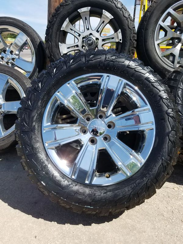 20 Quot Gmc Chrome Oem Wheels On A Set Of 33 Quot Mts For Sale In