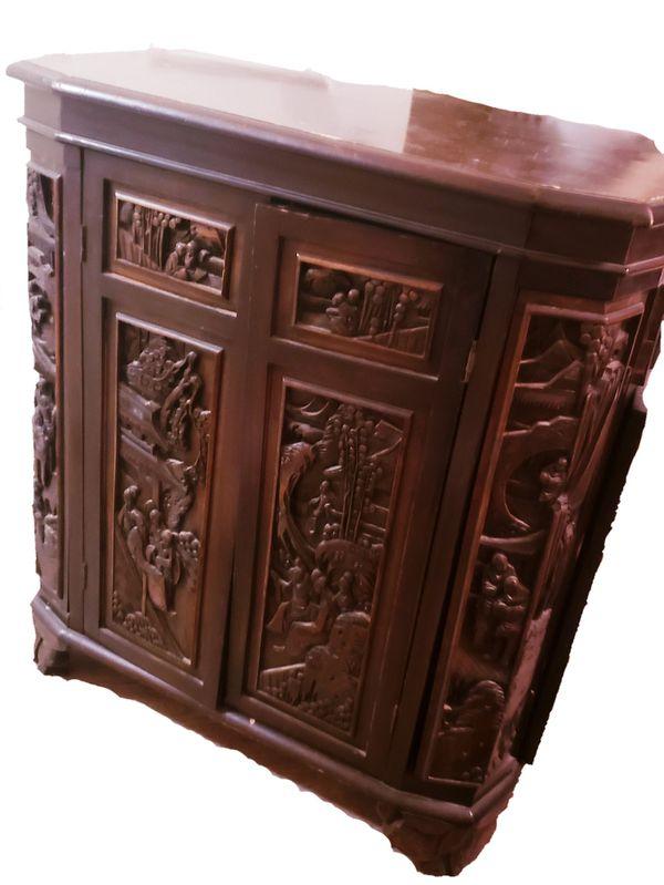 Chinese Carved Wooden Bar Liquor Cabinet Vintage Carved