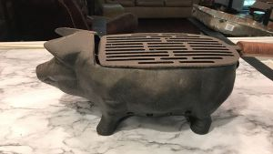 Very Unique Cast Iron Pig Shaped Hibachi Grill For Sale In