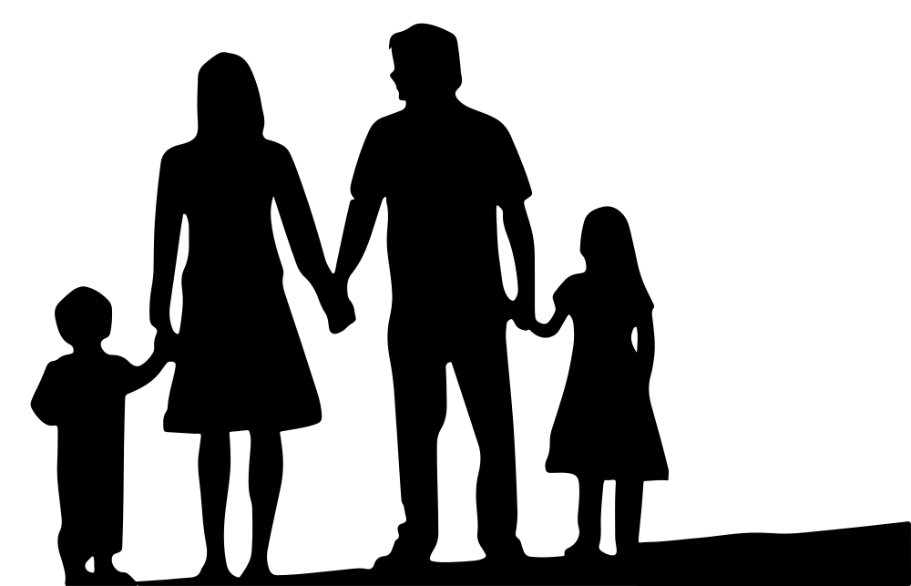 OnlineLabels Clip Art - Nuclear Family Silhouette