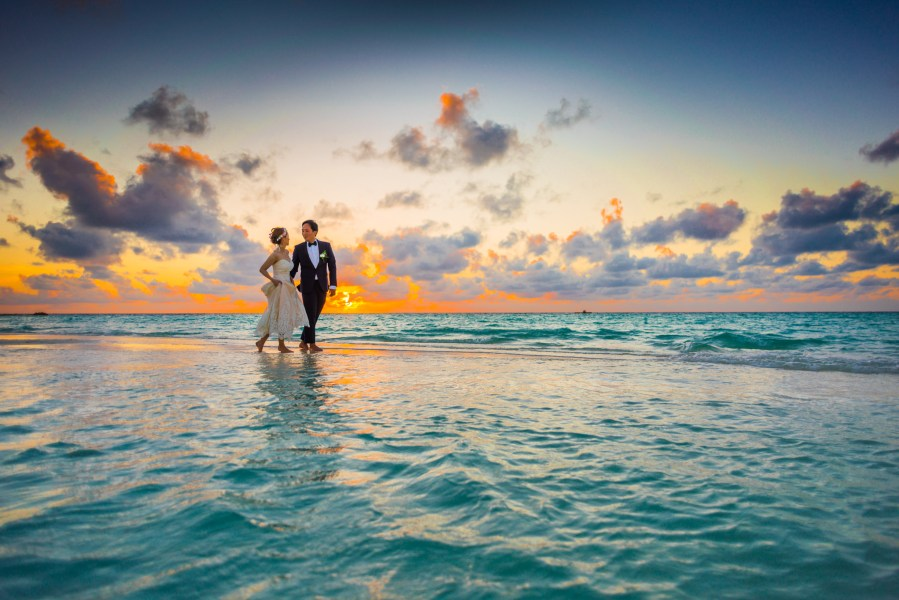 1000  Interesting Beach Wedding Photos      Pexels      Free Stock Photos Man and Woman Walking of Body of Water