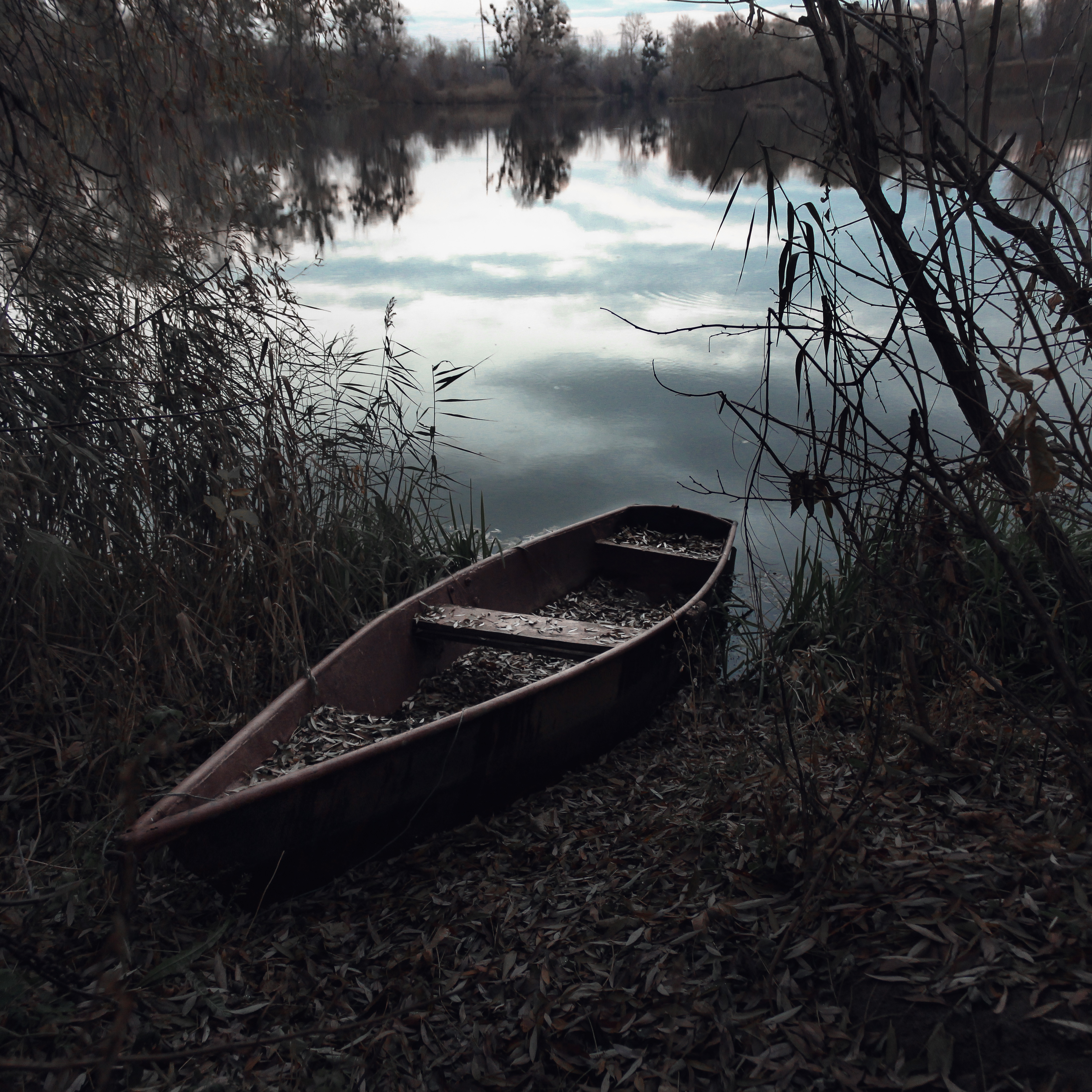 Brown Row Boat On Body Of Water Painting 183 Free Stock Photo