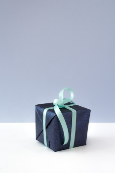 Black Box With Green Bow Accent 183 Free Stock Photo