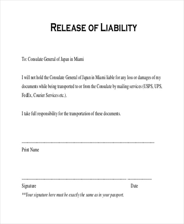 Towing Damage Waiver Forms Printable