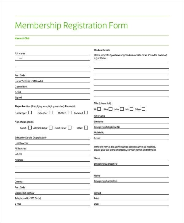 FREE 7+ Sample Membership Registration Forms in PDF | WORD