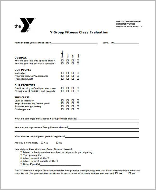 Health And Wellness Evaluation Forms