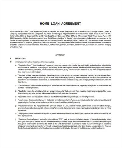 Loan Agreement Form Example - 65+ Free Documents in Word, PDF