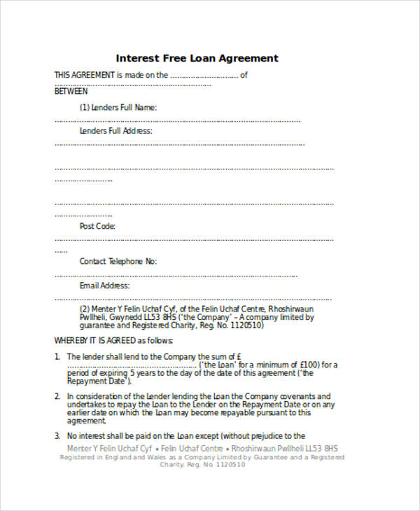 Free Printable Personal Loan Agreement