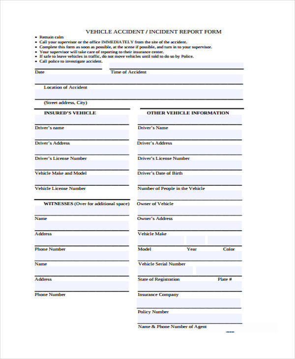 Sample Student Behavior Incident Report
