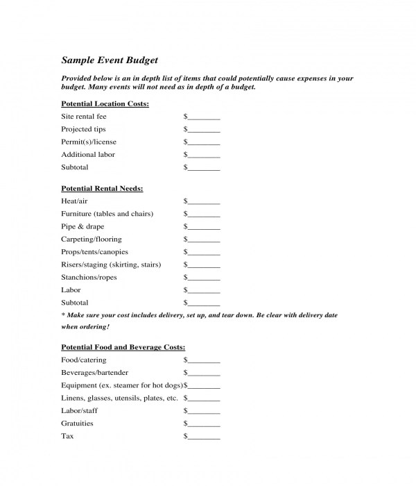 Free 4 Restaurant Budget Form Samples In Pdf Xls
