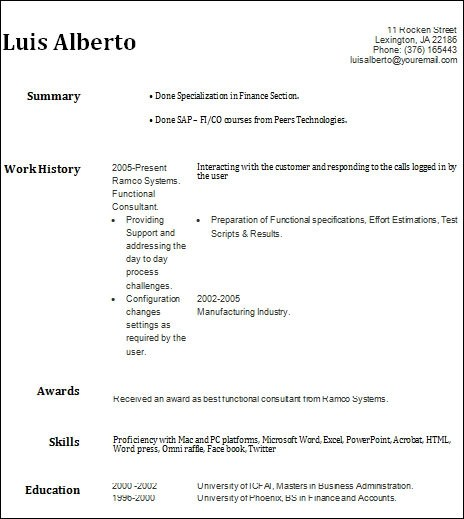Basic Resume Examples Students
