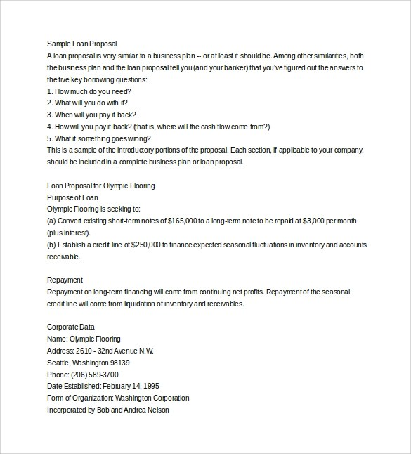 Format Sample Loan Proposal