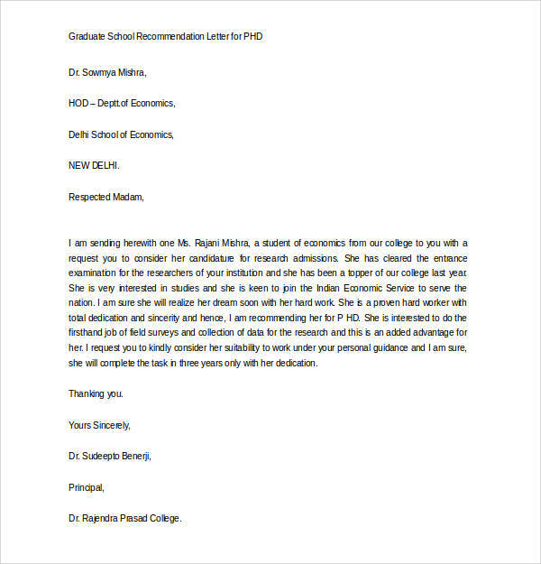 Personal Reference Letter Graduate Student Entrance