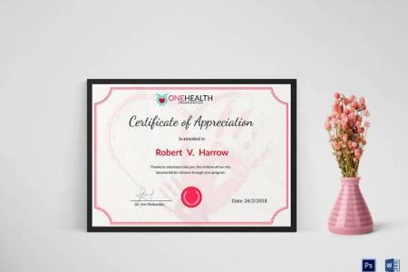 27  Best Printable Certificate of Appreciation Templates   Sample     Health Appreciation Certificate Template