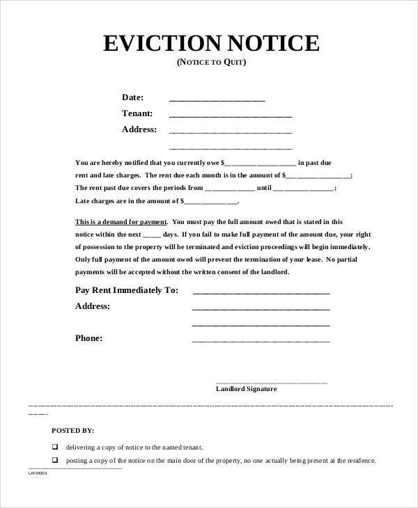 baby pregnancy eviction notice template