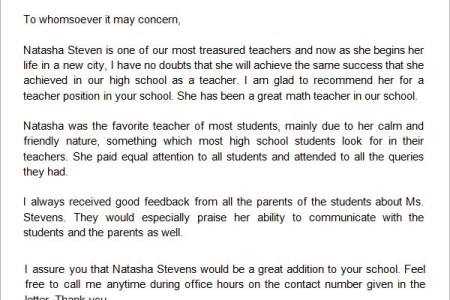 New example letter recommendation teacher fresh student teacher re reference letter format for a student best re mendation letter reference letter format for a student best re mendation letter format for high school fresh altavistaventures Image collections