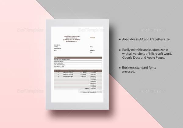 34 Printable Service Invoice Templates   Sample Templates Sales Invoice Template