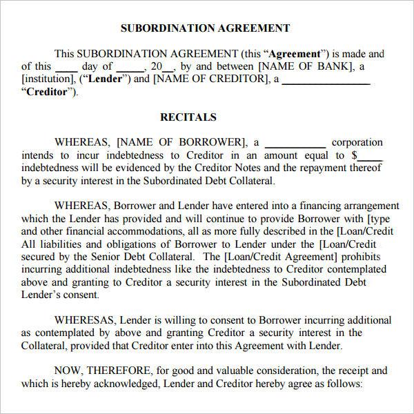 Subordination Agreement Form