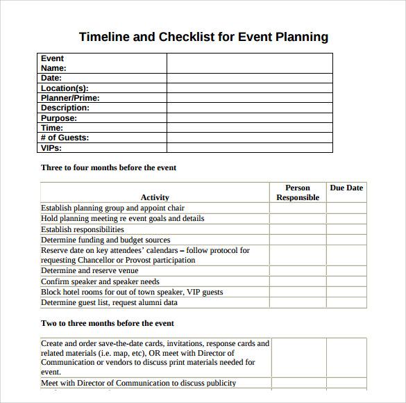 Special Event Timeline Template - Event timeline template