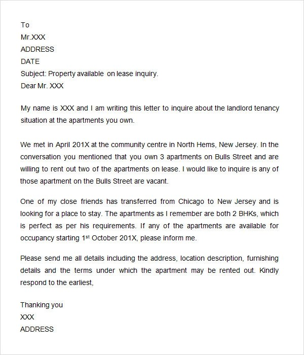 Letter Of Inquiry Samples