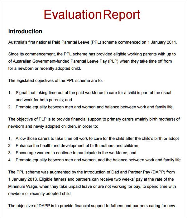 Training Evaluation Report Templatefor