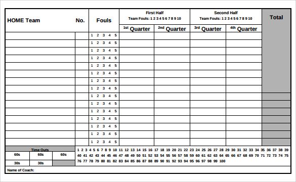 Simple Printable Basketball Stat Sheet