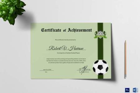 17 Sample Football Certificate Templates to Download   Sample Templates Football Achievement Award Template