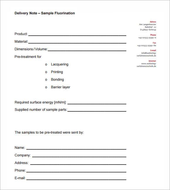 delivery receipt printable
