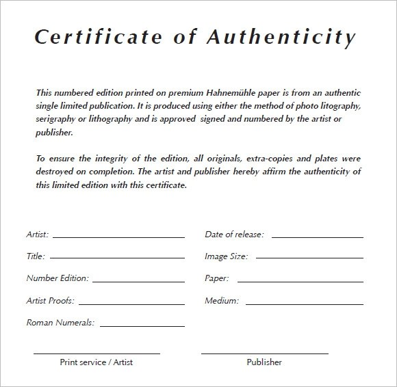 Sample certificate of authenticity photography images certificate of authenticity sample form images certificate certificate of authenticity painting sample image collections photography certificate yadclub Image collections