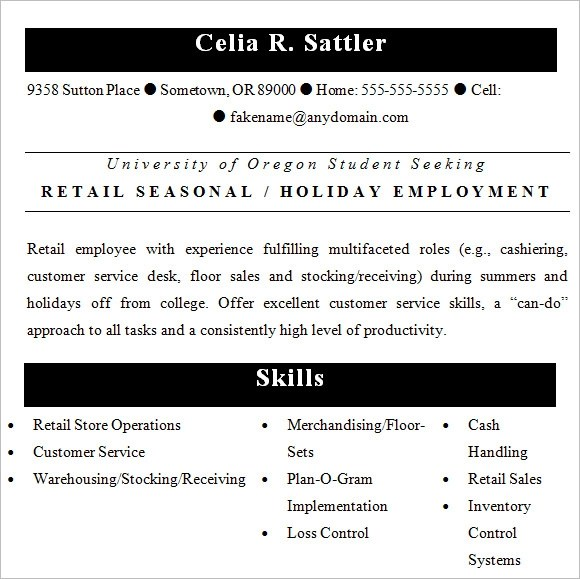 10 Retail Resume Templates Samples Examples Amp Format