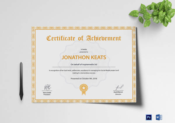 28 Microsoft Certificate Templates Download for Free   Sample Templates Achievement Certificate Template