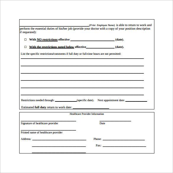 Release Work Sample Letter
