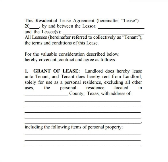 House Rental Lease Agreement Texas