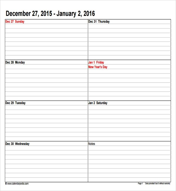 Weekly Appointment Sheet Template