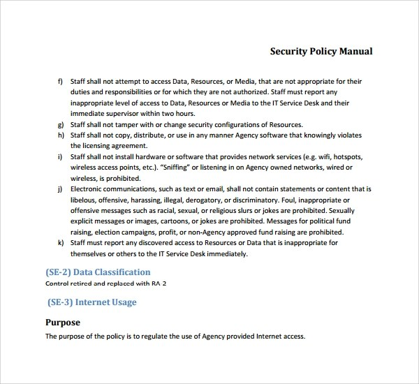 Policy Manual Information Security