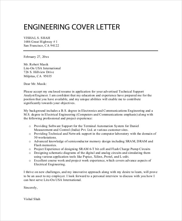 Here Is Engineering Cover Letter With A Resume To Apply Job Cover Letter  Samples And More