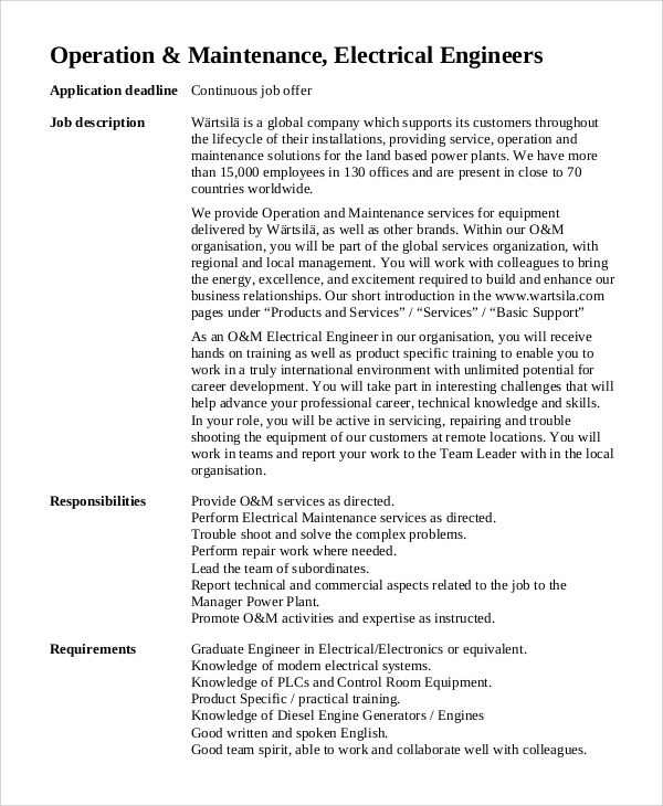 Sample Electrical Engineer Job Description 10 Examples