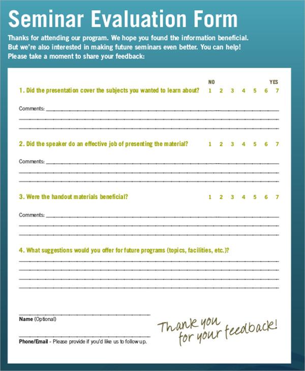 training seminar evaluation form - 600×730