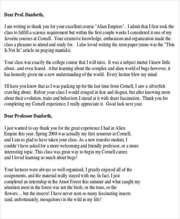 Letter Thanks End