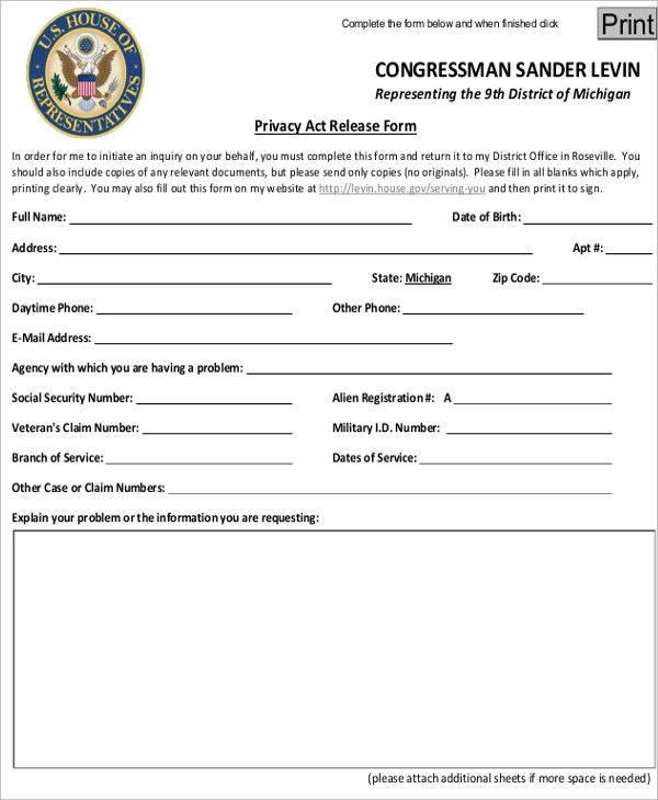 Ferpa Form GUM1W. Sample Privacy Act Release Form Examples In Word ...