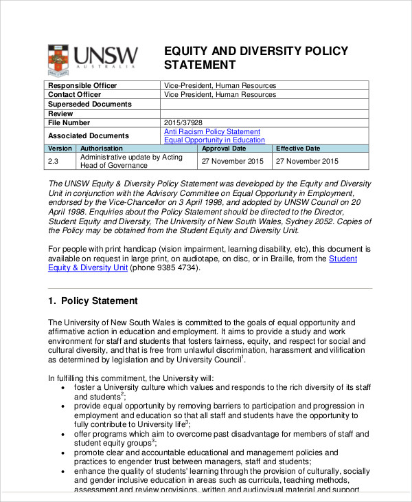 Diversity Policies And Procedures