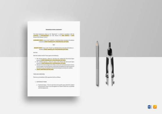 15  Simple Commercial Lease Agreements   Sample Templates Commercial Rental Agreement in iPages
