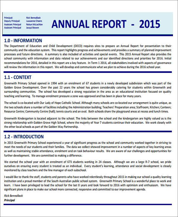 16+ Sample School Reports - Free PDF,Google Docs, Apple ...