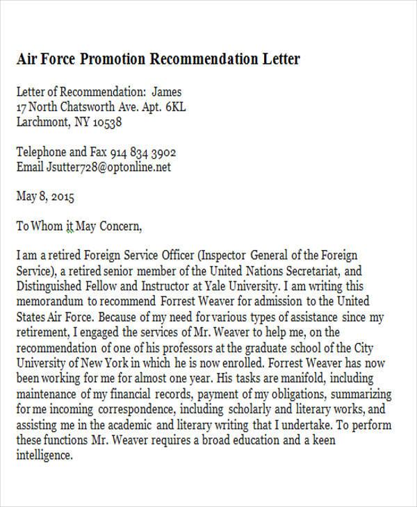 Letters Sample Recomandation